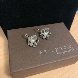 Silpada pearl & sterling silver flower earrings